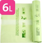 150 x Alina 6L Compostable Kitchen Caddy Bin Liner / Food Waste Compost Bin Bag / Biodegradable Green 6 Litre Sack with Alina Composting Guide