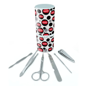 Manicure Pedicure Grooming Beauty Personal Care Travel Kit (Tweezers,Nail File,Nail Clipper,Scissors) - Dreaming Of P-W Warlocks Red