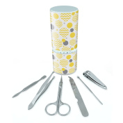 Manicure Pedicure Grooming Beauty Personal Care Travel Kit (Tweezers,Nail File,Nail Clipper,Scissors) - Chevrons Yellow