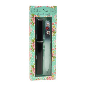 Black Medium Glass Nail File Floral Crystal Design embellished with Crystals and Hard Case packaged in Floral Gift Box