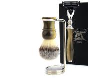 Brass & Metal Base Gillette Precision Mach 3 Razor,Brush,Stand 3 piece Gift Set for MEN