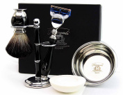 100% Hand Made Shaving Set for Men's. Ideal Gift This Christmas. The set Includes Pure Black Badger Hair Shaving Brush, Gillette Fusion Razor, Shaving Bowl with Soap and Brush Holder. Newly deigned By Haryali London