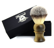 BLACK & BRASS COLOUR MIXED BASE WITH SLIVER TIP SYNTHETIC HAIR SHAVING BRUSH