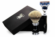 100% Pure Sliver Tip Badger Hair Brush with Black & Metal Handle & Gillette Fusion Razor With Black Handle. Perfect Set for Smooth finish. For Men's