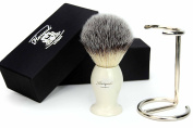 Syntactic (Badger looking ) Hair Shaving Brush with Ivory Handle/Base and Shaving Brush Stand/Holder. Perfect for Good Shave
