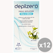 Set of 12 Depilzero Strips Face Bikini-24 * Spare Body Care