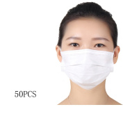 50 PCS Disposable Breathable Anti Dust Earloop Mouth Face Mask White