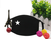2PCS Unisex Anti-dust Black Cotton Earloop Face Mouth Mask Muffle Printed with White Stars