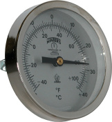 Winters TCT Series Dual Scale Mild Steel Clamp-On Thermometer, 5.1cm - 1.3cm Dial, -40-110 F/C Range