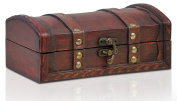 Pirate Treasure Chest Storage Box By Thunderdog - Durable Wood & Metal Construction - Unique, Handmade Vintage Design With A Front Lock - Striking Decorative Element - The Best Gift