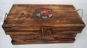 Unusual Hand Made Rustic Titanic Steamer Trunk Rope Handle Wooden Chest