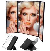 URAQT Tri-Fold Cosmetic Compact Mirror, LED Lighted Makeup Vanity Mirror, Make up Mirror Portable for Travel