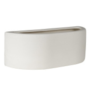 Modern White Ceramic Wall Lamp with Practical Plug, Cable and Switch - Paintable