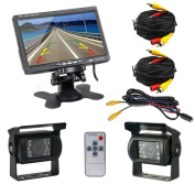 Podofo® 18cm TFT LCD Rear View Monitor 2 x Backup Cameras 18 IR LED Night Vision Waterproof Rearview Reverse Camera for Truck RV Bus