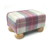Luxury Tartan Footstool in Heather with Natural Wood Bun Feet