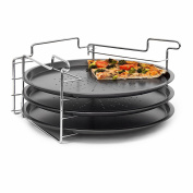 Relaxdays Non-Stick Pizza Baking Set 3 Pans With Holder Oven Cook Bake Pizza Rack Trays, 33 cm diameter, Grey