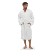 Mens Womens Unisex Towelling Robe Wrap Gown | One Size fits M/L | White NEW