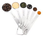 Vicloon Stainless Steel Measuring Spoon Set of 6,With Measuring Rulers for Measuring Dry Liquid Ingredients