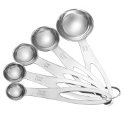 HooAMI 4 PCS/Set Stainless Steel Measuring Cups and Spoons Combo Set with Solid Flat Handle 1.25mml/2.5ml/5ml/7.5ml/15ml