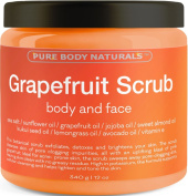 Pure Body Naturals Grapefruit Scrub For Face And Body - Facial Scrub Exfoliator Cleans Acne-Prone Pores And Brightens Complexion - Body Exfoliator Detoxes And Protects Skin