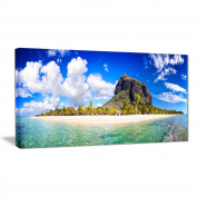 "Designart PT6898-150cm - 70cm Mauritius Beach Panorama Photography"" Canvas Print, Blue, 150cm x 80cm"