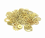 100g Assorted Patterns Machine Clock Cog Wheel Gear Punk Steampunk Charm Pendant Connector for Necklace Bracelet Anklet DIY Crafting Accessories(Antique Golden) By Alimitopia