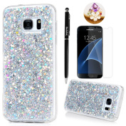 Badalink Galaxy S7 Case Shiny Glitter Sparkle Powder Series Shockproof Drop Protection Soft TPU Rubber Protective Bumper Sratchproof Slim-Fit Colourful Cover for Samsung Galaxy S7 - Silver