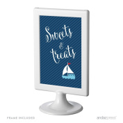Andaz Press Birthday and Baby Shower Framed Party Sign, Double-Sided 10cm x 15cm , Sweets & Treats, Nautical Anchor and Sailboat, 1-Pack, Includes Frame