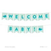 Andaz Press Boy Whale Baby Shower Collection, Hanging Pennant Party Banner with String, Welcome Baby!, 1.5m, 1-Set, Decor Paper Decorations