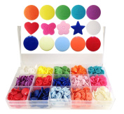 15-Colour KAMsnaps Storage Container 150 Sets Size 20 (1.3cm ) Plastic KAM Snaps Button Fasteners Bibs Nappy Closures