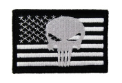 Punisher USA American Flag Tactical Hook and loop Fully Embroidered Morale Tags Patch