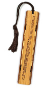 Musical Instrument - Flute Engraved Wooden Bookmark with Brown Rope Tassel