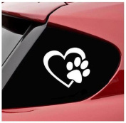 Malloom HEART with DOG PAW Love Decal Window Sticker for Cars