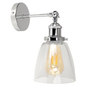 Retro Style Polished Chrome Adjustable Knuckle Joint Wall Light with a Clear Glass Shade