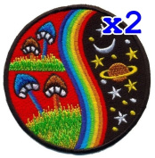Pack of 2 Mushroom Hippie Weed Boho Retro Pot Lsd Love Peace Applique Iron-on Patch T-24 Made of Thailand