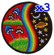 Pack of 3 Mushroom Hippie Weed Boho Retro Pot Lsd Love Peace Applique Iron-on Patch T-24 Made of Thailand