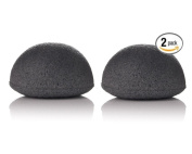 Bamboo Charcoal Konjac sponge- detoxifying, exfoliating beauty sponges 2 pack