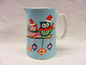 christmas owls design cream jug made for the Abbeydale collection for Heron Cross Pottery.