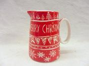 Merry christmas bunting design cream jug made for the Abbeydale collection for Heron Cross Pottery.