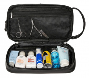 WODISON PU Leather Mens Travel Toiletry Bag Toiletry Kit Black