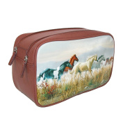 Buxton Double Zipper Travel Kit with Horses