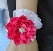 Yxhflo Wedding Flower Art Bride Hand Flower Jacquard Yarn-Dyed Fabric Camellia Flowers Of The Wrist Arts , The Red
