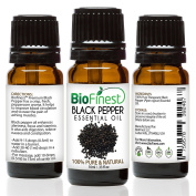 BioFinest Black Pepper Oil - 100% Pure Black Pepper Essential Oil - Boost Blood Circulation, Focus & Stamina - Premium Quality - Therapeutic Grade - Best For Aromatherapy - . 10ml)