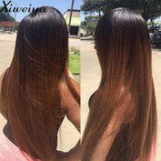 silky straight Heat Resistant Fibre Hair mermaid ombre black to brown colour wig Synthetic lace front wig for women