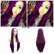 silky straight Heat Resistant Fibre Hair mermaid purple colour wig Synthetic lace front wig for women
