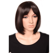 Heat Resistant Synthetic Wig Japanese Kanekalon Fibre 14 Colours Full Wig with Bangs Short BOB Wig for Women Girls Lady Fashion and Beauty