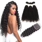 Ms Taj Lace Frontal with Bundles Deep Wave Brazilian Hair 3 Bundles with 3 part Closure 7A Unprocessed Human Hair Weave