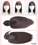 BESTLEE Synthetic Human Hair Mono Hairpiece for Hair Loss Clip in/on Hair Topper with Air Bangs 30cm