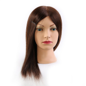 100% Human Hair 50cm Hairdresser Training Head Manikin Cosmetology Mannequin Doll Head (Table Clamp Holder Included) HE0414S