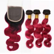 Secrect Stylist Ombre Brazilian 100 Percent Virgin Human Hair Extensions (46cm with 50cm +60cm +60cm ) 300g 2 Tones Body Wave Remy Hair Weaves 3 Bundles and 10cm x 10cm Lace Top Closure Black And Burgundy